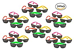 24 Pack 80\'s Style Neon Party Sunglasses - Fun Gift, Party Favors, Party Toys, Goody Bag Favors
