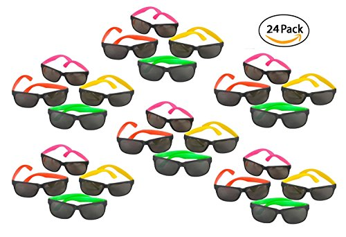 24 Pack 80's Style Neon Party Sunglasses - Fun Gift, Party Favors, Party Toys, Goody Bag Favors (Halloween Birthday Bash Invitations)