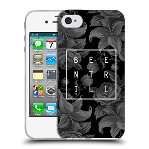 Official Been Trill Black And White Floral Patterns Soft Gel Case for Apple iPhone 4 / 4S