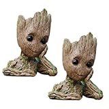 2-Pack Flowerpot Treeman Baby Groot Pencil Holder Succulent Planter Polyresin Cute Green Plants Flower Pot with Hole Pen Holder