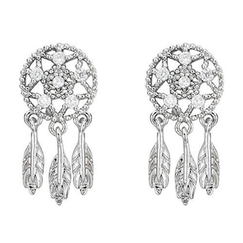 Dreamcatcher Sterling Silver Round Diamonds Feather Leaves Tassel - Dreamcatcher Sterling