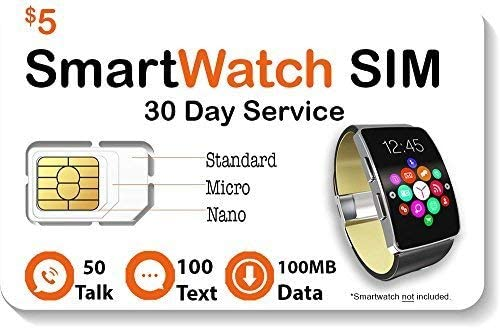 $5 Smart Watch SIM Card for 2G 3G 4G LTE GSM Smartwatches and Wearables - 30 Day Service 51WTWFgguyL