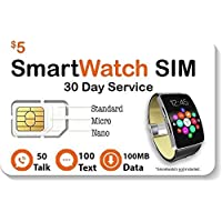 $5 Smart Watch SIM Card for 4G LTE GSM Smartwatches and Wearables - 30 Day Service