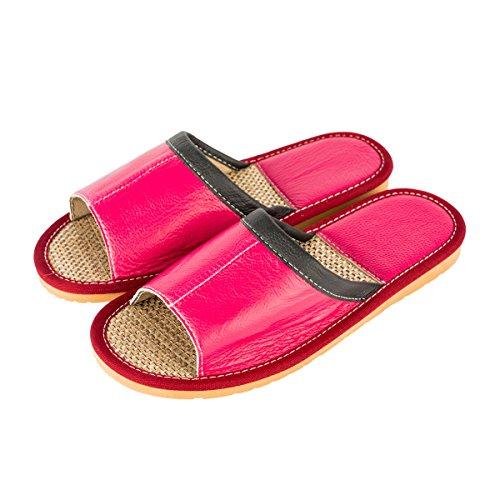 Pantofole Di Lino Estate Delle Donne Del Haisum Casual In Pelle Assorbono Il Sudore Sandali Casa Antiscivolo Dita Dei Piedi Piatte Rosa