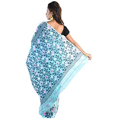 Profil Ciel De Soie Coton Mode Exclusif Femmes Bleu Minakari Dhakai Jamdani Handloom De Sari
