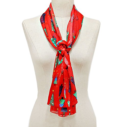 Christmas Tree - Christmas Scarf w/ Gift Box By Crown (Christmas Tree Red)