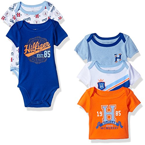 tommy-hilfiger-baby-boys-short-sleeved-striped-and-solid-bodysuits-blue-orange-3-6-months-pack-of-5