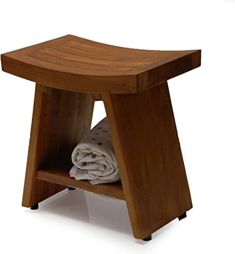 Arrive Fully Assembled Heavy Fuji I Teak Shower Bench or Pool Side Bench Chair Height Stool