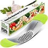 Yarmoshi Garlic Press Rocker Stainless Steel Mincer - chop into Very Small Pieces. Revolutionary Innovative Anti Slip Silicone Handles for Best Grip!