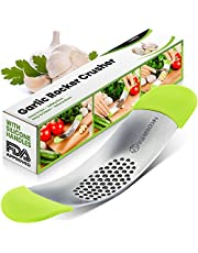 Yarmoshi Solid Stainless Steel Garlic Press Rocker - Chopper Mincer - Perfect Ginger Crusher - Revolutionary Innovative Anti Slip Silicone Handles for Best Grip! (The Only one on The Market)