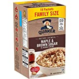 Instant Quaker Oats Oatmeal-Maple Brown Sugar Family Pack, 18-Count