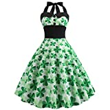 Casual Halter Sleeveless Cocktail Dresses Shamrock Print Vintage Evening Party Prom Swing Dress for St Patrick's Day (M) Green