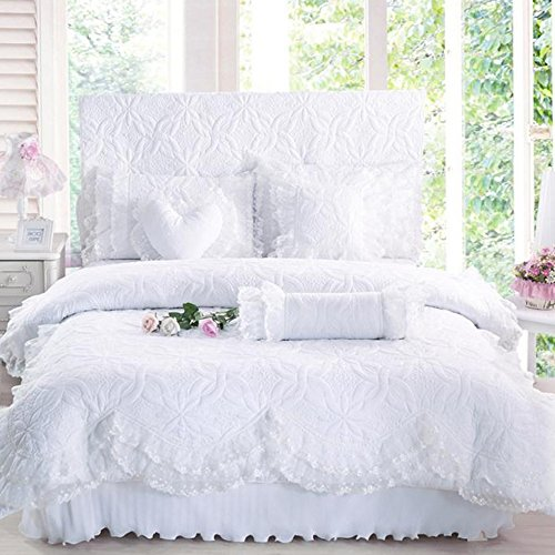 John Whitley Textile White Lace Princess Duvet Cover Set King Size Romantic Percale Cotton Quilting 4 Pcs Bedding Bed Skirt Sheet Set Couple Adult Girls