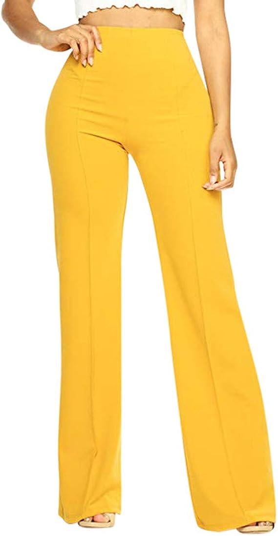 Pantalones Mujer De Vestir Elegantes Pantalones Elasticos Y Cintura Alta Pantalones Fluidos Pantalones Casual Comodo Elegantes Fiesta Negocios Yvelands Amazon Es Ropa Y Accesorios