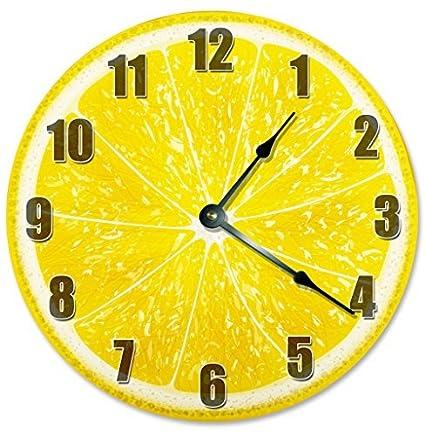 Glass Wall Clock Kitchen Clocks 30 cm round silent Lemons Yellow