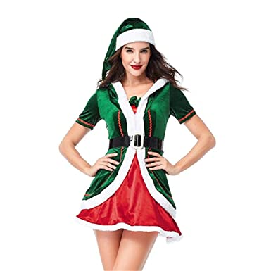 Amazon.com  YOUTH UNION Women s Christmas Xmas Santa Helper Elf Costume  Outfit with Hat Cosplay Suit  Clothing 926d373c974b