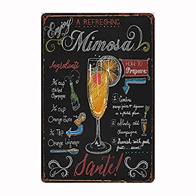 "Enjoy A Refreshing Mimosa, Retro Embossed Metal Tin Sign, Wall Decorative Sign Cocktail 12"" x 8"""