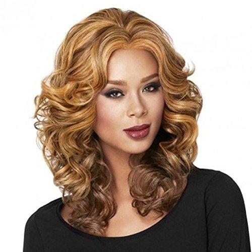 Mme mode fil haute température synthétique perruque de cheveux longs cheveux bouclés
