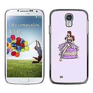 TopCaseStore / la caja del caucho duro de la cubierta de protección de la piel - Purple Fuchsia Dress - Samsung Galaxy S4 I9500