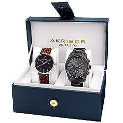 Akribos XXIV Men's AK884BK Two Watch Gift Set