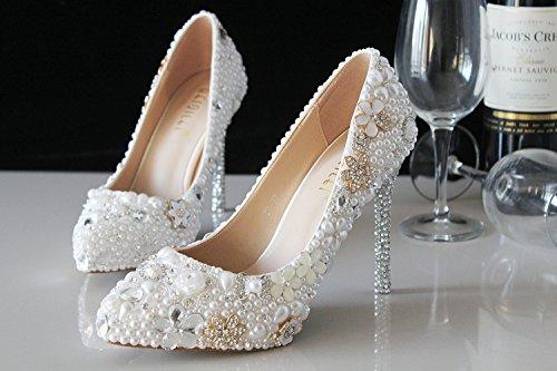 Altos De Tacones De Tacones Zapatos Etapa Novia Perlas Alto Gran Zapatos Zapatos De Diamantes De 5cm Cristal VIVIOO De heel Tamaño Novia Tacón Princesa De Blancas Vestidos De De xZ7H6H
