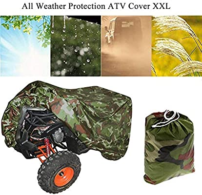190T Camouflage Protects 4 Wheeler From Snow Rain or Sun ATV Cover Waterproof Large Universal Size SUNDUXY Riding Lawn Mower Cover Fits up to Most Vehicles