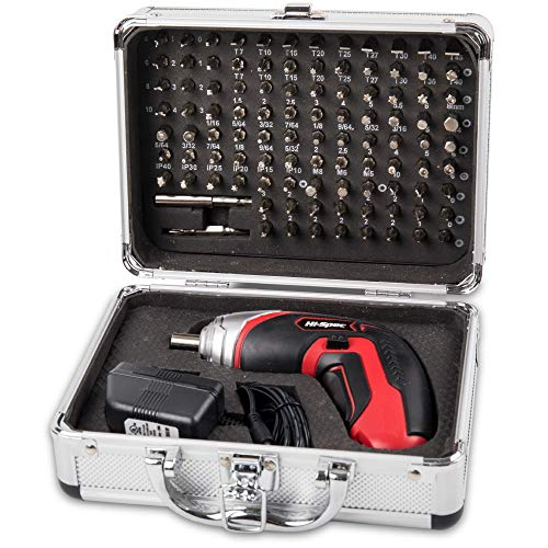 Hi-Spec Cordless 3.6V 1300mAh Li-ion Battery Power 4 LED Screwdriver & 102 Piece Insert Bit Set for Repair of Appliances, Electronic Gadgets, Toys, Laptops & Smartphones in Aluminium Case