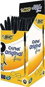 BIC Cristal - Caja de 50 bolígrafos de punta fina color negro