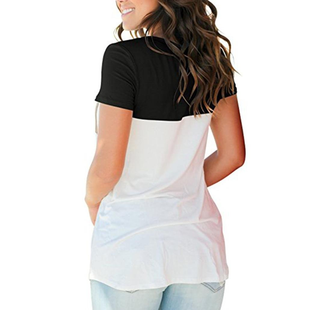 Amazon.com: T Shirts for Womens, FORUU Casual Color Block Pocket Casual Short Sleeve Blouses: Clothing