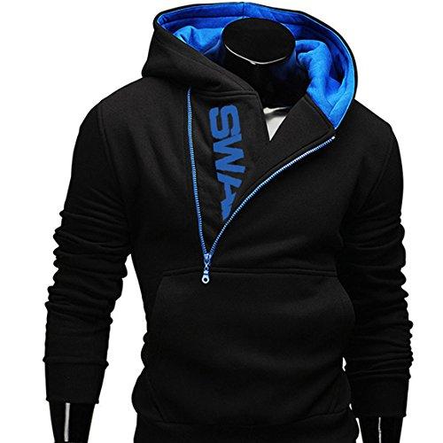 Herren Jacke Kapuze Hoodie Sweatshirt Kapuzenpullover V-Ausschnitt Pullover Übergangsjacke, Schwarz-Blau, Gr. 4XL