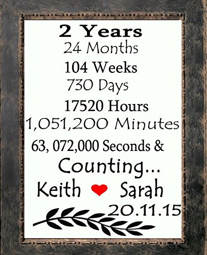 2 Years and counting ...Initials Heart Love Canvas art print | Custom 2nd Anniversary Gifts for Him Her | Handmade Cotton Fabric Wedding Anniversary gift for husband wife | Burlap Print ..