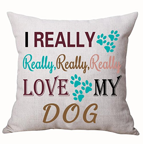 Dog Designer Pillow (Best Dog Lover Gifts Nordic Sweet Funny Sayings I Really Really Really Really Love My Dog Paw Prints Cotton Linen Decorative Home Office Throw Pillow Case Cushion Cover Square 18 X 18 Inches)