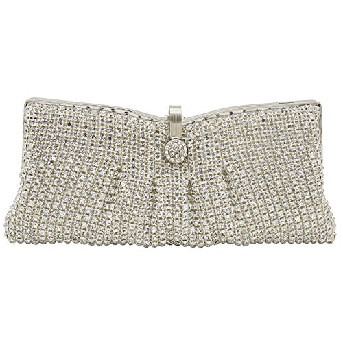 ILILAC Women's Folds Style Clutch Purse Silver Rhinestone Evening Bags