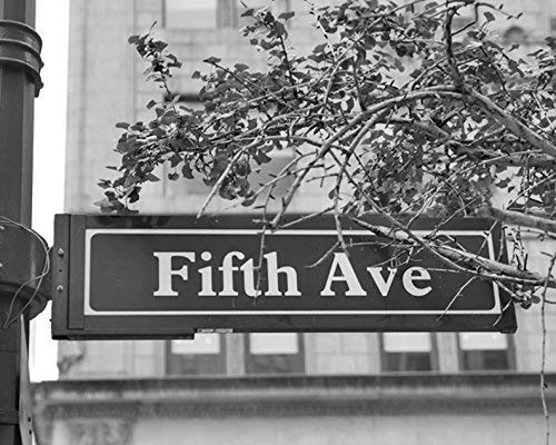 New York Decor, Fifth Avenue Street Sign Photography Print, Black and White Wall Art Picture 5x7, 8x10, 11x14, 12x16, 16x20