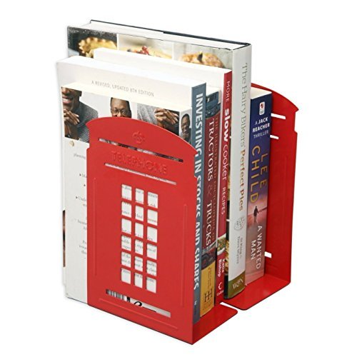 DYQWT Newest Creative Telephone Booth Bookend Bookends Racks,A Pair (Red) (Bookends Decor)