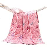 KFZ Summer Quilt Comforter Bedspread for Bed Breathable BDD 4 Sizes Christmas Tree Butterfly Dance Dessert Bike Forest Zoo Designs For Children Adult One Piece (Butterfly Dance,Pink, Kids,39''x59'')