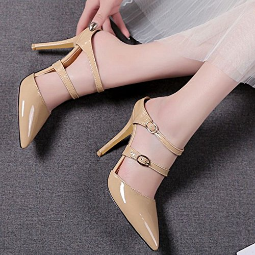 for High Materail with apricot Smilice Women Chunky Sandals Transparent Sexy and Heel Fashion 8xWzqfHtw
