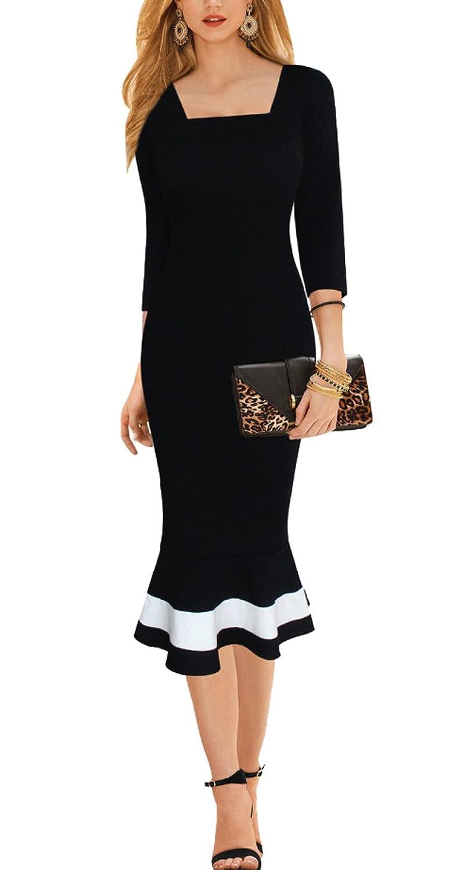 Lecheers Damen Karree-Ausschnitt 3/4 Arm Fishtail Kleid Elegant Business Kleider Cocktail Abend Kleider Gr. S-XXL