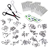 BodyJ4You 200PC Body Piercing Kit Lot 14G 16G Belly Ring Labret Tongue Tragus Barbells Basic Jewelry