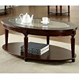 Glass Top for Coffee Table Furniture of America Claire Oval Glass Top Coffee Table, Dark Cherry Finish