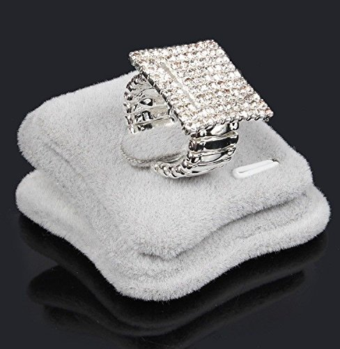 Bling Square Elastic Stretch Ring Full Rhinestone Crystal Silver Finger Rings (Square Stretch Ring)