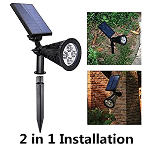 USYAO Garden Illumination Solar Spot Light, LED Light Source,Super Bright with 3 Modes Brightness,Angle Adjustment,Lighting Favor,Simple Beautiful Durable (Spot Light 004-2pcs)