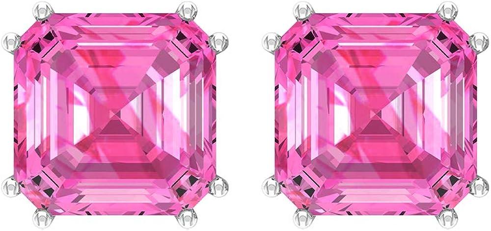 10 pendientes de zafiro rosa creado por laboratorio, 8 mm, corte Asscher, pendientes solitarios, pendientes de oro, pendientes de doble punta (calidad AAAA), tornillo hacia atrás