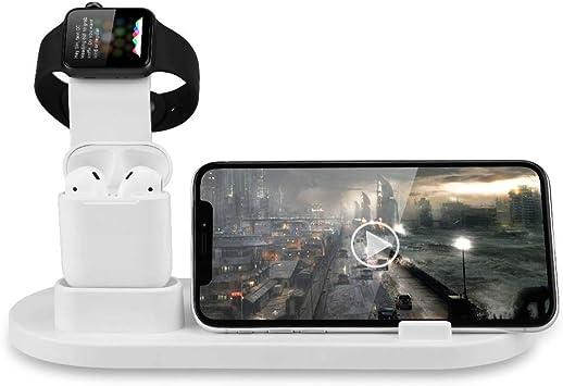 SHKY Base de Carga 3 en 1 - Cargador inalámbrico, para Airpods, Apple Watch/iPhone X / 8 Plus / 8/7 Plus/iPad, Blanco (no Incluye Estuche de Carga Airpods): Amazon.es: Deportes y aire libre