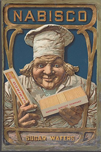 Nabisco Sugar Wafers color advertising insert 1901 smiling chef in toque