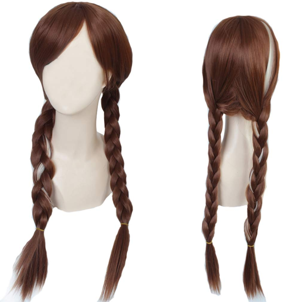 Anna Wig for Frozen Costumes Play and 1 Wig Cap, Brown Double Braid Hair Cosplay Wigs for Daily /Cosplay /Party /Fun, Comfortable/Breathable/ Durable Rose Net; wig019A