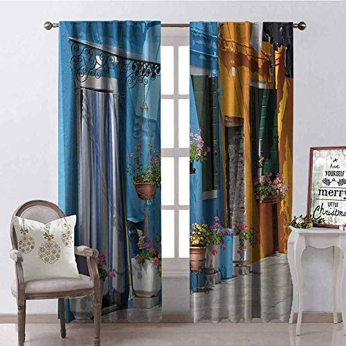 Gloria Johnson Tuscan Heat Insulation Curtain Retro Tuscan House with Brick Road Flower Pots Outside Sovana Tuscany View for Living Room or Bedroom W100 x L84 Inch Marigold Pale Blue