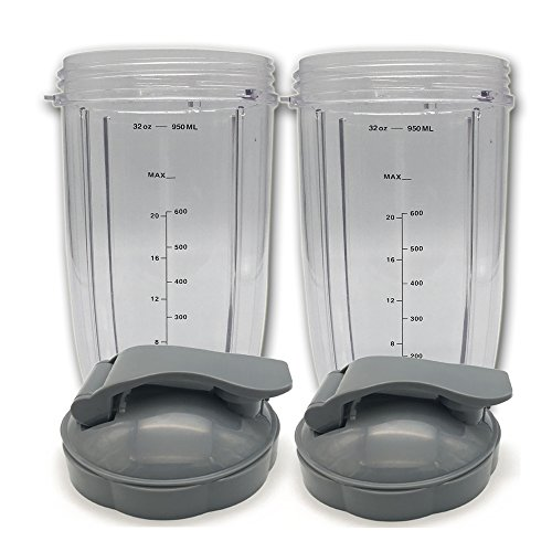 2 X Replacement clear scale Cup 32 Oz Tall cup with Flip Top to Go For Nutribullet Nutri Bullet Blender (2) by JOYPARTS