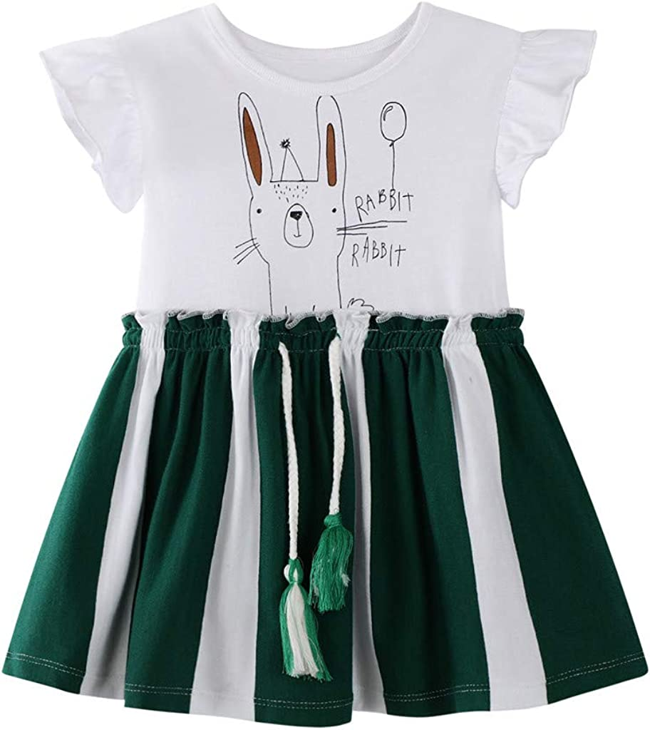 Toddler Kid Baby Girl Striped Rabbit Bunny Letter Printed Casual Dress Clothes