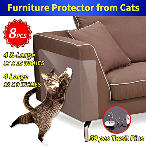 (COOYOO Furniture Protectors from Cats,8 Pack Clear Cat Scratching Guard Self-Adhesive Pads,4 Pack X-Large (17